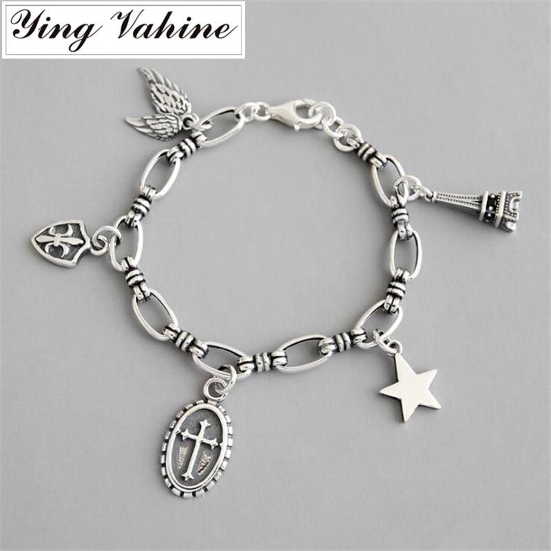 Ying Vahine 100% 925 argent Sterling aile & tour & pendentif étoile à cinq branches charme bracelets pour femme