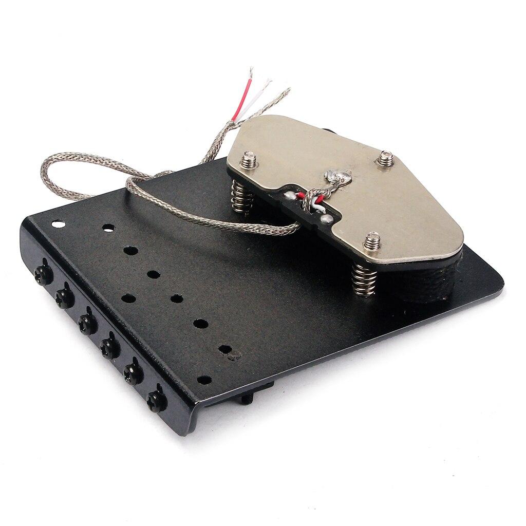 1 Set 6 Snarige Elektrische Gitaar Zadel Brug Staartstuk Hardtail + Wired Controle Plaat + Hals Pickup Black Luthier Supply - 5