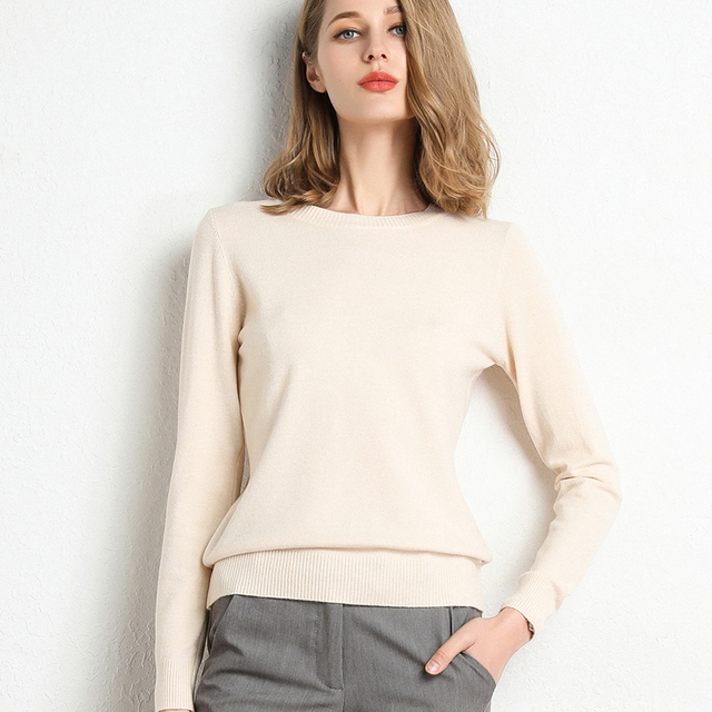 New Women Sweater Autumn Winter Clothes Solid Round Neck Sweater Jumper Long-sleeved Knitted Pullovers Shirt Female Tops 3