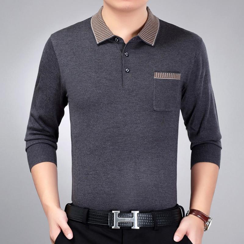 Camisa de t dos Homens de Malha Além de Negócios Camisa de Manga Cavalheiro dos Homens Camiseta Masculina Adulto Presente Primavera Outono Longa Streetwear