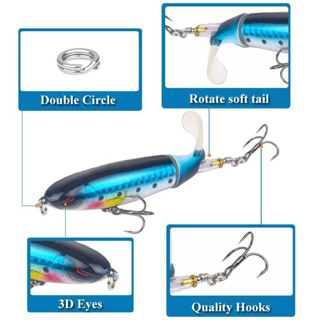 Fishing Spinner Lures popper with Rotating Spinner Rattle Tail for Bass Trout Walleye Pike Musky Crappie Muskie Top Water 2