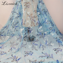1Y Spring and summer new printed fabrics branches embroidery mesh floral skirt fabric butterfly dress accessories diy