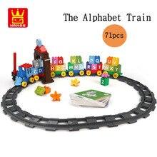 Large particles The Alphabet Digital Train DIY Bricks Creative Educational Toys For Kid Building Blocks Set Compatible Tracks