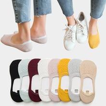 Calcetines de algodón con diseño de copo de nieve para mujer, calcetín suave, antideslizante, para verano, 5 pares