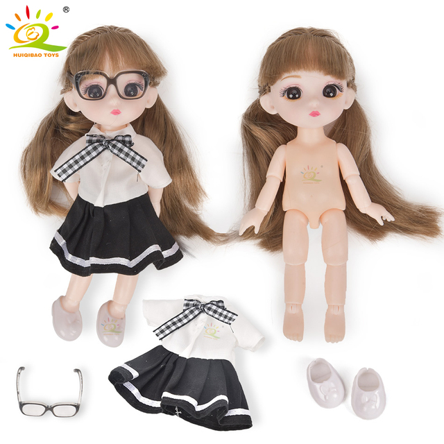 6inch Princess Girl Doll bjd Boneca Dolls normal/joint body Ball Jointed Reborn Glasses Dolls Toys Clothes Shoes Gift For Girls 6