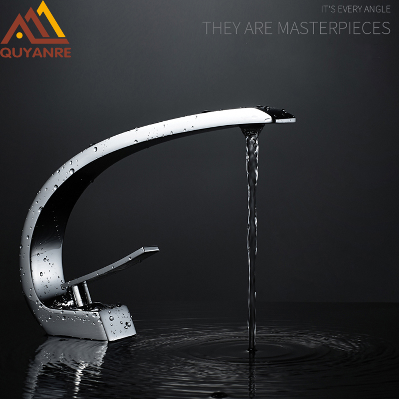 Quyanre Chrome Orange Basin Faucets Modern Bathroom Mixer Tap Brass Washbasin Faucet Single Handle Single Hole Elegant Crane Tap