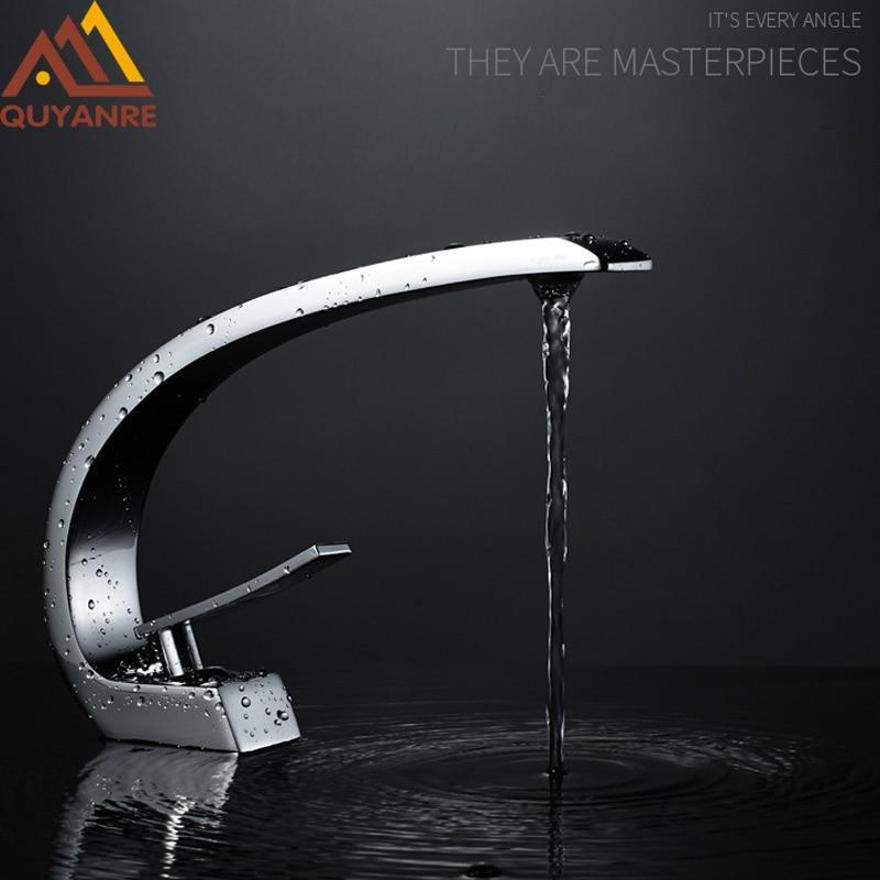 Quyanre Chrome Orange Basin Faucets Modern Bathroom Mixer Tap Brass Washbasin Faucet Single Handle Single Hole Elegant Crane Tap