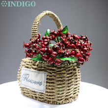 INDIGO -5pcs/Lot Red Berry Spray Christmas INS Decoration Flower Arrangment Artificial Plant Floral Event Party Free Shipping