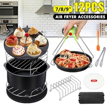 12pcs/set High Quality 7/8/9 Inch Air Fryer Accessories for Gowise Phillips Cozyna and Secura Fit all Airfryer 3.7 4.2 5.3 5.8QT