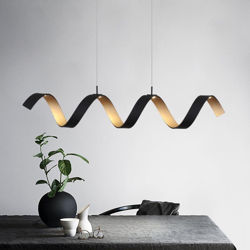 Modern Home Lamp LED Pendant Lights For Living Room Black Golden Spiral Aluminum Body Lamp Fixtures Home Lamp