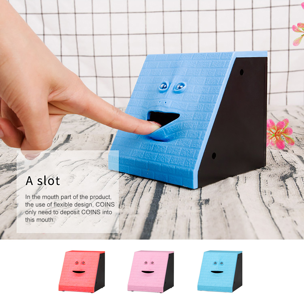 Creative Face Money Eating Box Automatic Saving Bank Chewing Piggy Bank Cat Safe Box Savings Money For Children Candy Machine