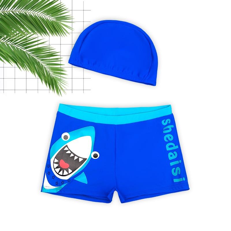Cute BOY'S Swimming Trunks Set Big Boy's Comfortable Fabric Boxer Cartoon Cute Beach Hot Springs Swimming Equipment
