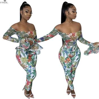 Womens Clothing Flare Sleeve Sexy Print Jumpsuit For Women Off Shoulder Fashion Flare Bodysuit Femmer Bodycon Casual Jumpsuits фото