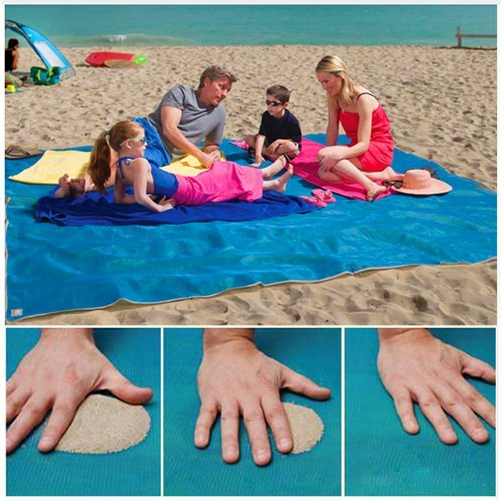 2M/1.5M Magic Sand Free Beach Mat Camping Outdoor Picnic Large Mattress Waterproof Bag