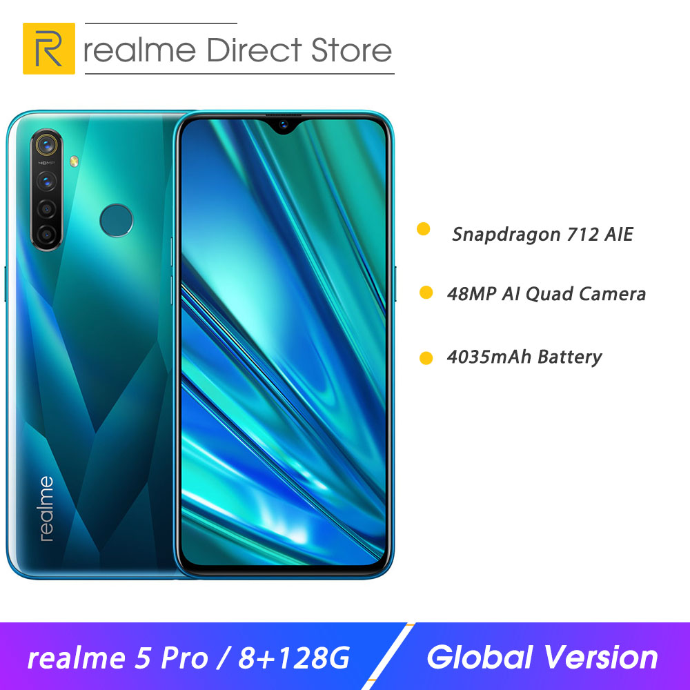 """Realme 5 Pro 8GB RAM 128GB ROM 6.3"""" Mobile Phone Snapdragon 712AIE 4035mAh 20W VOOC Fast Charge 48MP Quad Camera Smartphone"""