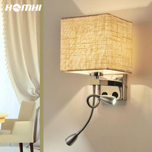 Modern Home Cube Lampshade-Sconce Wall-Light Bedroom Lighting-Cloth Led Nordic Gooseneck