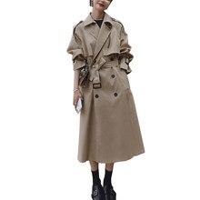Trench-Coat Long avec ceinture pour femmes, vêtements bleus, Harajuku, collection automne 2021