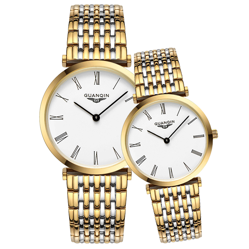 GUANQIN Couple Watches Men Women Design Watch Vintage Quartz Analog Wrist Watch Waterproof Ultra-thin 6mm Men And Women Watches
