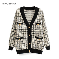 BIAORUINA Women's Fashion V neck Chic Single Breasted Knit Cardigans Female Thick Keep Warm Swallow Gird Plaid Sweater Outerwear
