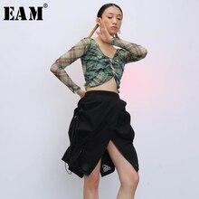 Temperament Skirt Women Asymmetrical Black High-Waist Fashion Tide EAM Autumn Spring
