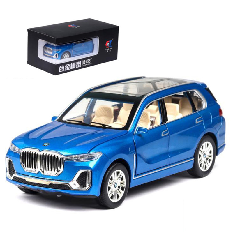 1:24 Diecast Toy Car Model Alloy Simulation X7 Metal Car Doors Open Pull Back Lighting Car Kids Toys Cars Collection Boy Gift