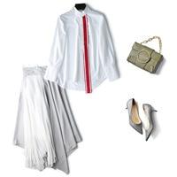 2019 fashion new women's white red ribbon versatile shirt + irregular pleated skirt in the long