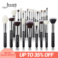 Jessup черный/Серебряный набор кистей для макияжа Профессиональный с натуральными волосами основа для макияжа Пудра Тени для век Кисть для ма...