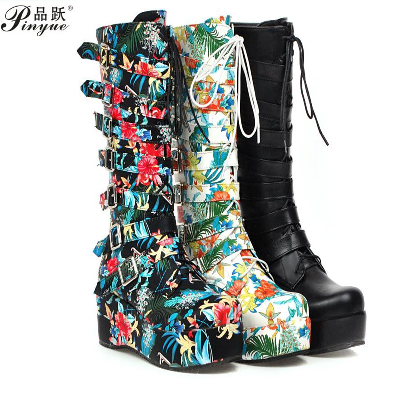 Gothic Punk Womens Platform Boots Black Buckle Strap Lace Up Creeper Wedges Shoes Mid Calf Military Combat Boots 1