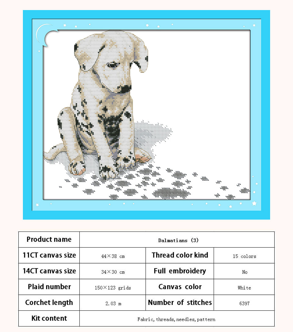 Cross Stitch Fabric CT Number : 11CT Picture Printed Dalmatians Pattern Counted Cross Stitch 11CT 14CT Cross Stitch Animals Cross Stitch Kit for Embroidery Wall Decor Needlework Cross Stitch