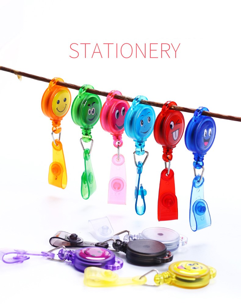 Smiley Face Easy Pull Button ID Department Brand Name Badge Holder Rolling Key Ring Chain Clip School Student Office