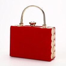 Elegant Velour Hard Surface Women Evening Bags Rectangle Box Bag Handbags Black Red Fashion Party Clutches Ladies bolsa feminina