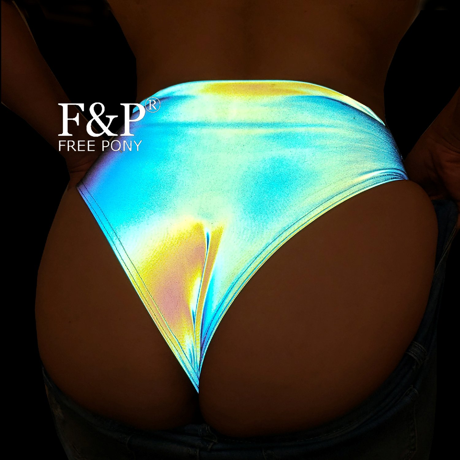 Rainbow Reflective Clothing Booty Shorts Burning Man Festival  Carnival Costume Gogo Pole Dance Bottom Wear Clothes