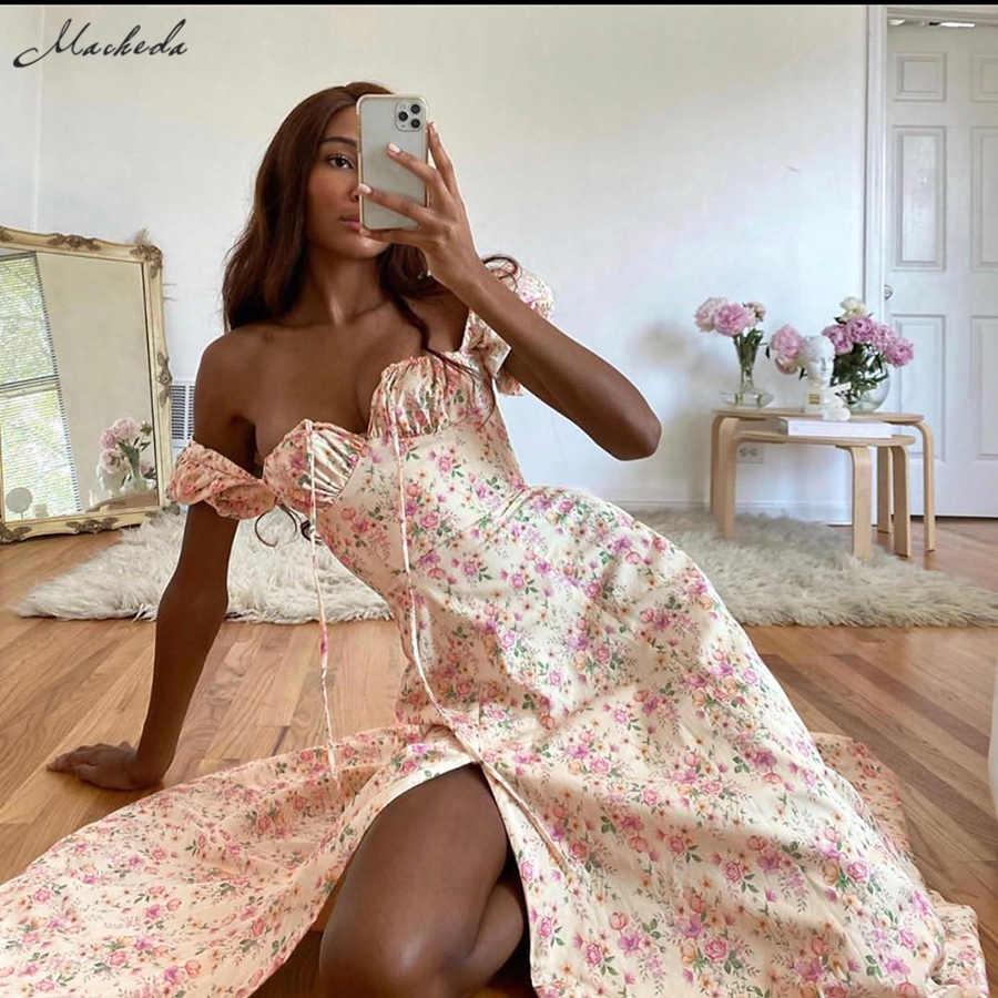 Macheda Herbst Französisch Romantik Retro Kleider Frauen Casual Blumenmuster Platz Kragen Puff Sleeve Kleidung Midi Kleider Dame 2020