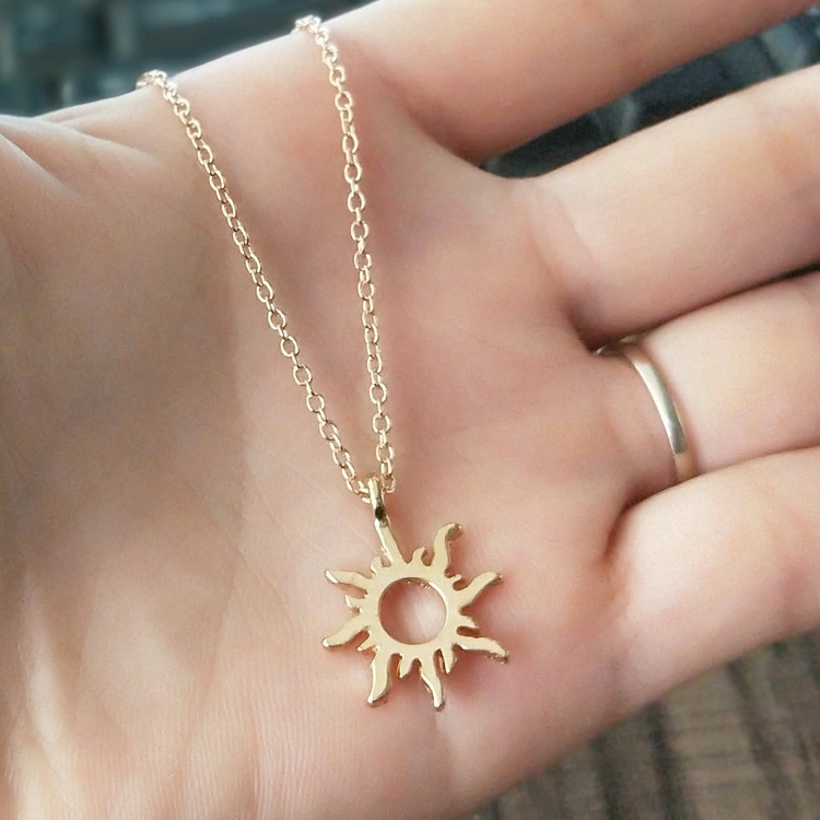 Fashion Sun Necklaces & Pendants Minimalist Gold Color Alloy Pendant Necklace For Women Girl Jewelry Birthday Gift