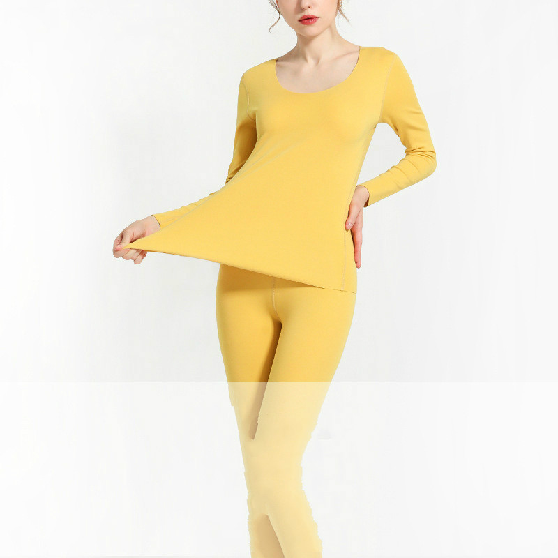 Elastic Thermal Underwear Set Female Sanding Slim Velvet Warm Suit Girls Two Piece Set Seamless Body Shaping Underwear Homewear
