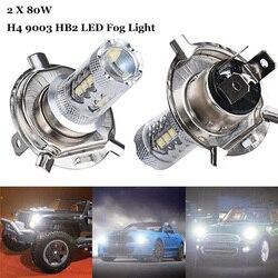 2 pces carro h4 9003 hb2 led luz de nevoeiro lâmpadas drl 12 v 24 v luz de nevoeiro lâmpada farol alto baixo feixe 80 w