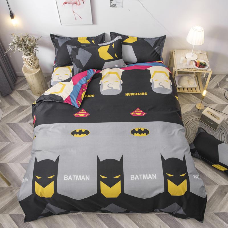Batman Printed Bedding Sets Kids Duvet Cover Flat Sheet Pillowcase Single Quilt Cover Bedclothes Gray Cartoon Style Bed Linens