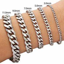 3/5/7MM Punk Stainless Steel Bracelet Curb Cuban Link Chain Bangle Hip Hop Metal Jewelry For Men Women