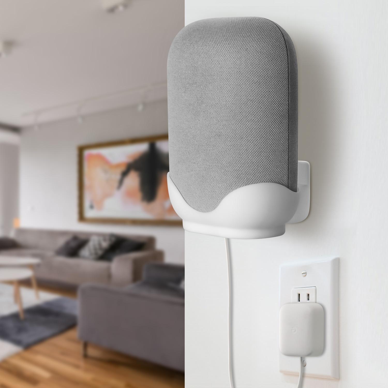 Wall Mount / Bracket for Google Nest Audio Speaker - Built in Cord Management Stable Stand Smart Speaker Holder Accessories 2