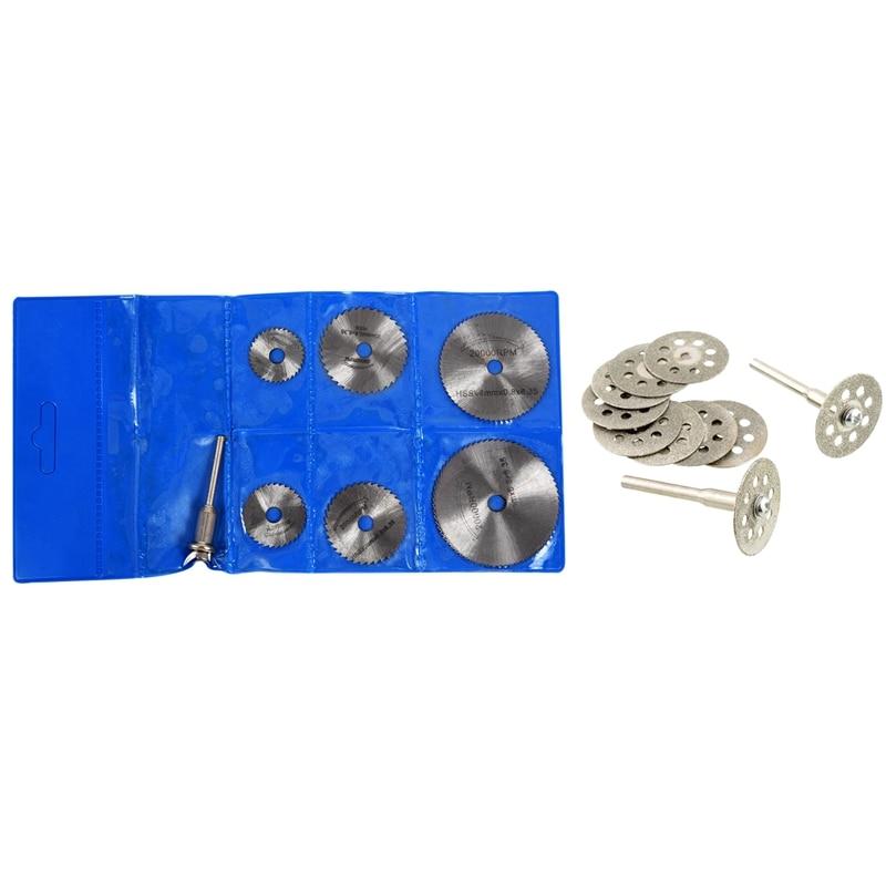 10 Pcs Mini 22mm Diamond Cutting Disc Saw Blade Mill Sheet & 7 Pcs HSS Circular Wood Cutting Saw Blade Discs Mandrel Mini Drill
