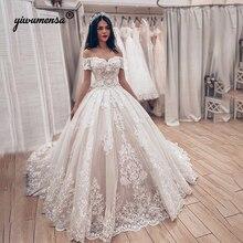Свадебное платье принцессы с коротким рукавом и v-образным вырезом, кружевные аппликации, свадебные платья, свадебное бальное платье для невесты