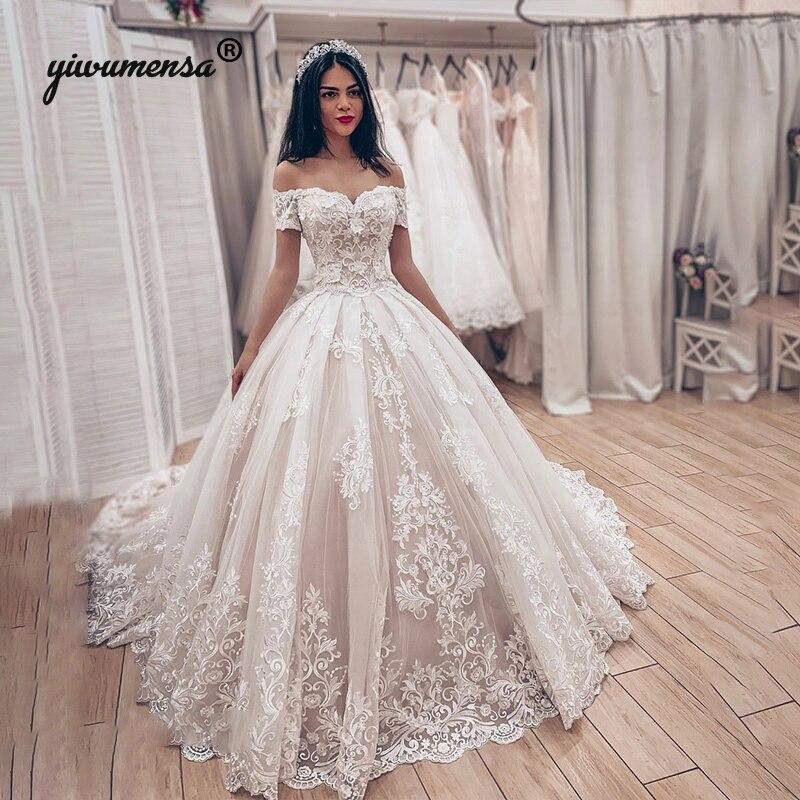 Short Sleeves V Neck Princess Wedding Dress 2020 Lace Appliques Bridal Gowns Robe De Marriage Ball Gown Bride Wedding Dresses