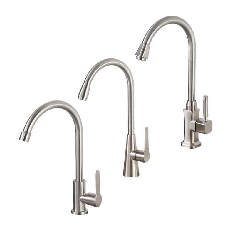 Küche Wasserhahn Einzigen Hebel Gebürstet Prozess Swivel Auslauf Waschbecken Wasserhahn Einzigen Kalten Wasserhahn Gebogene Outlet Rohr Tap Waschbecken wasserhahn