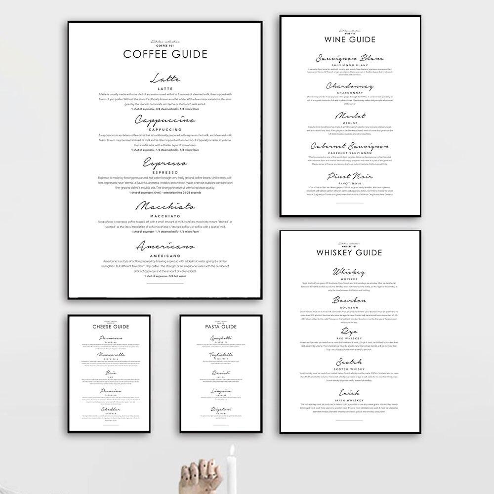 Кофе руководство виски вино плакаты и принты паста сыра стены искусства холст картина настенные картины для кухни комнаты художественный Настенный декор