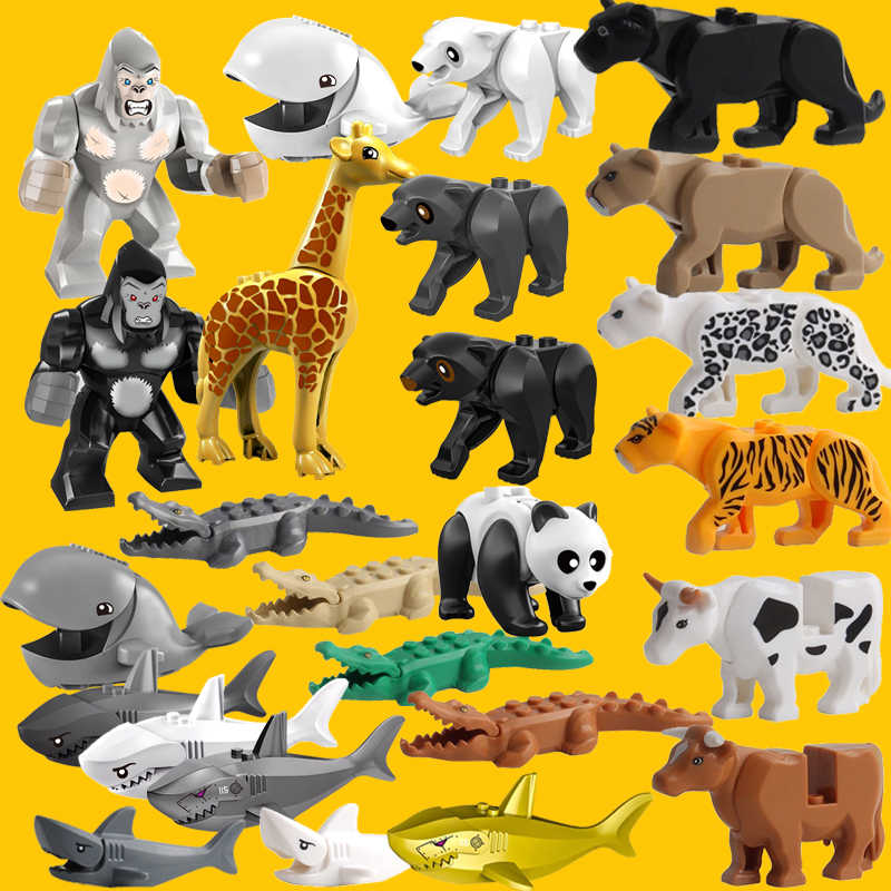 Single Sale Tiger Animal Cow Cattle Horse Shark Whale Bear Panda Lizard Building Blocks Bricks Kids Educational Toys Xmas Gift