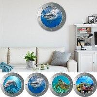 Calcomanías de animales del mundo marino para decoración del hogar, calcomanías de animales 3D, arte Mural de PVC, pegatinas de pared submarinas para habitaciones de niños y baño