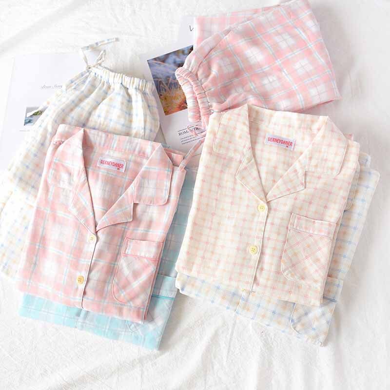 Lover's Pajama Set For Autumn Men And Women Sleepwear Fresh Style Plaid Homewear Turn-down Collar Long Sleeve Couple Casual Wear