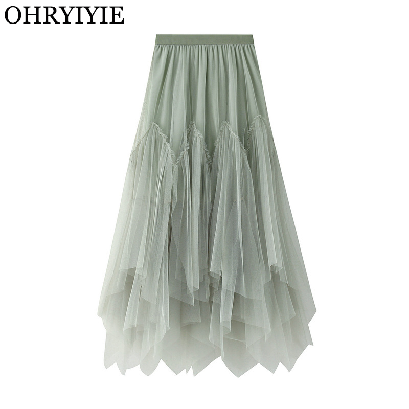 OHRYIYIE Women Irregular Long Tulle Skirts Ladies High Waist Ankle-Length Tutu Maxi Skirts Beige Green Female Faldas Jupe Femme
