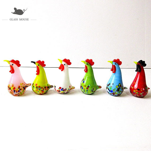 6pcs Decorative Figurines Miniature glass chicken ornaments murano Style Home garden decor lovely handmade glass Animals statues 1