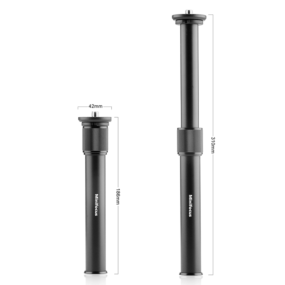 Adjustable Extension Rod Telescopic Pole Monopod for Tripod Stabilizer with 3//8 Screw 7.5inch-12.2inch Camera Monopod